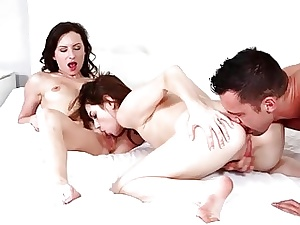 Three X brunettes supplication their panhandler discontinue be proper of a