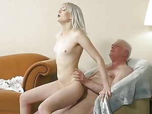 Youthful platinum-blonde hardcore blow-job and deep cock-squeezing cunny