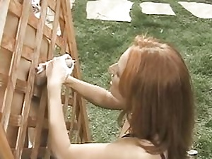 Puny boobed sandy-haired  plays w cunt while jerk