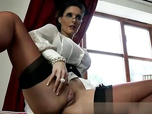 Horny dominatrix is revealing her jugs and vagina prepared to plumb