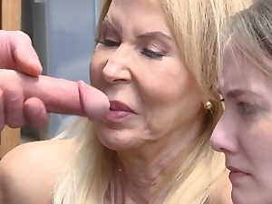 Mature stepgrandma and stepgranddaughter fucked by officer
